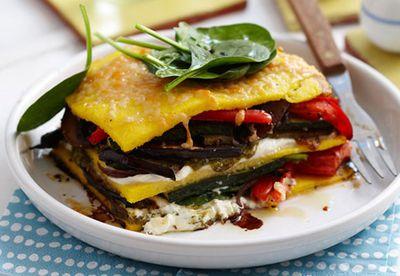 Roast vegetable pesto stacks