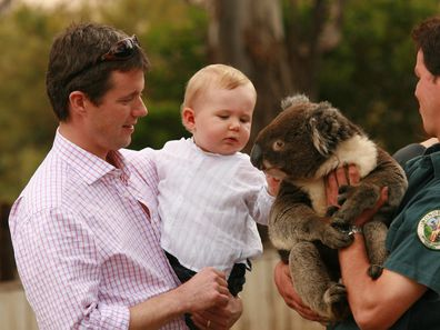 Prince Frederik with son Prince Christian during a trip to Australia in 2006.