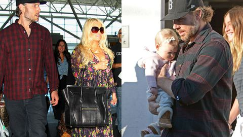 Dad duty: Jessica Simpson's fiancée Eric Johnson takes baby for a stroll