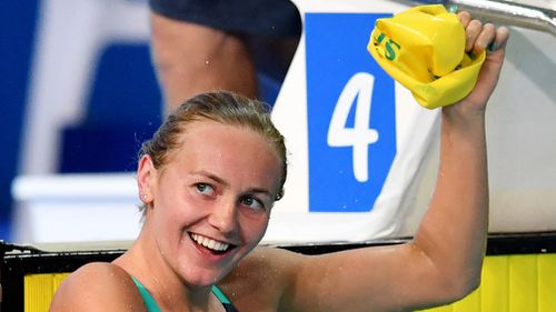 Ariarne Titmus goes back to school next week but added yet another gold to her haul. (AAP)