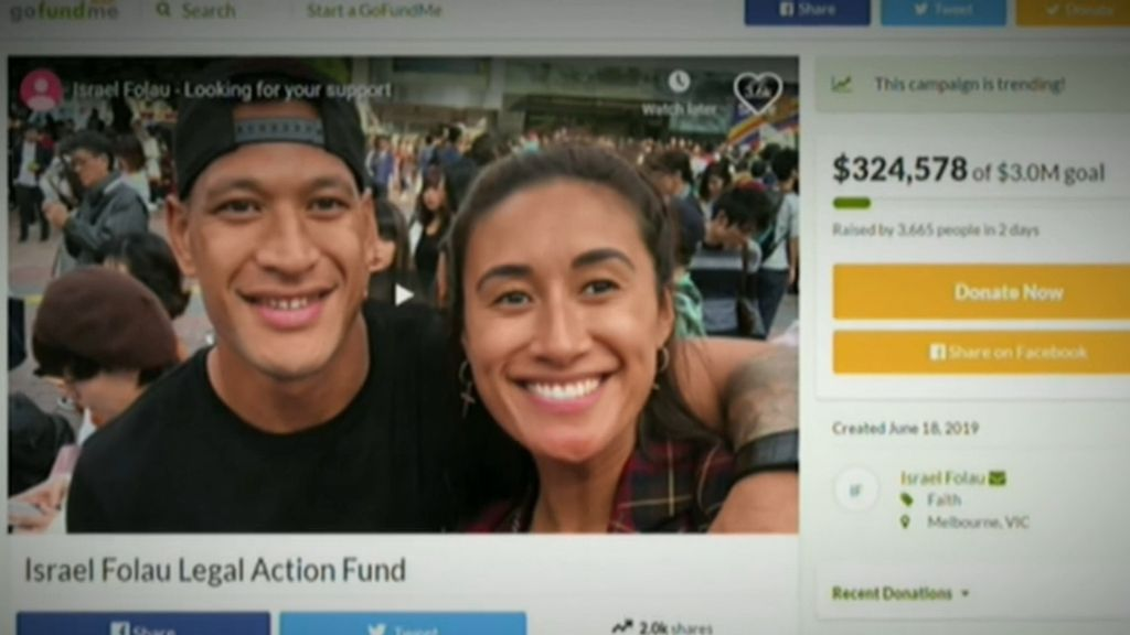 Israel Folau's Go Fund Me page passes $600,000