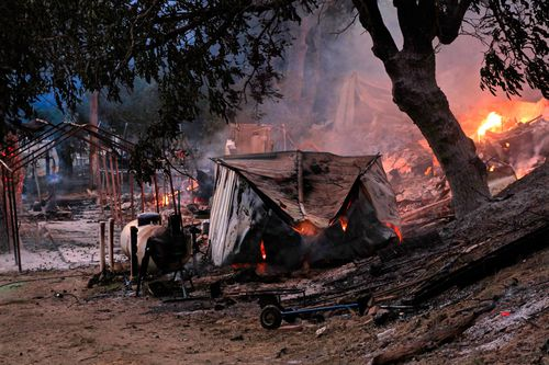 Destroyed structures from the Ranch Fire portion of the Mendocino Complex Fire near the Mendocino National Forest near Willows, California, USA, 29 July 2018 (issued 30 July 2018). The River and Ranch fires combined as the Mendocino Complex Fire with more than 56,000 acres (22,660 hectares) burned, nearly doubling since Sunday with more than 10,000 people already evacuated. EPA/ALAN SIMMONS