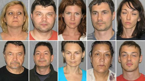 Mugshots of the ten Russian sleeper agents arrested in 2010.