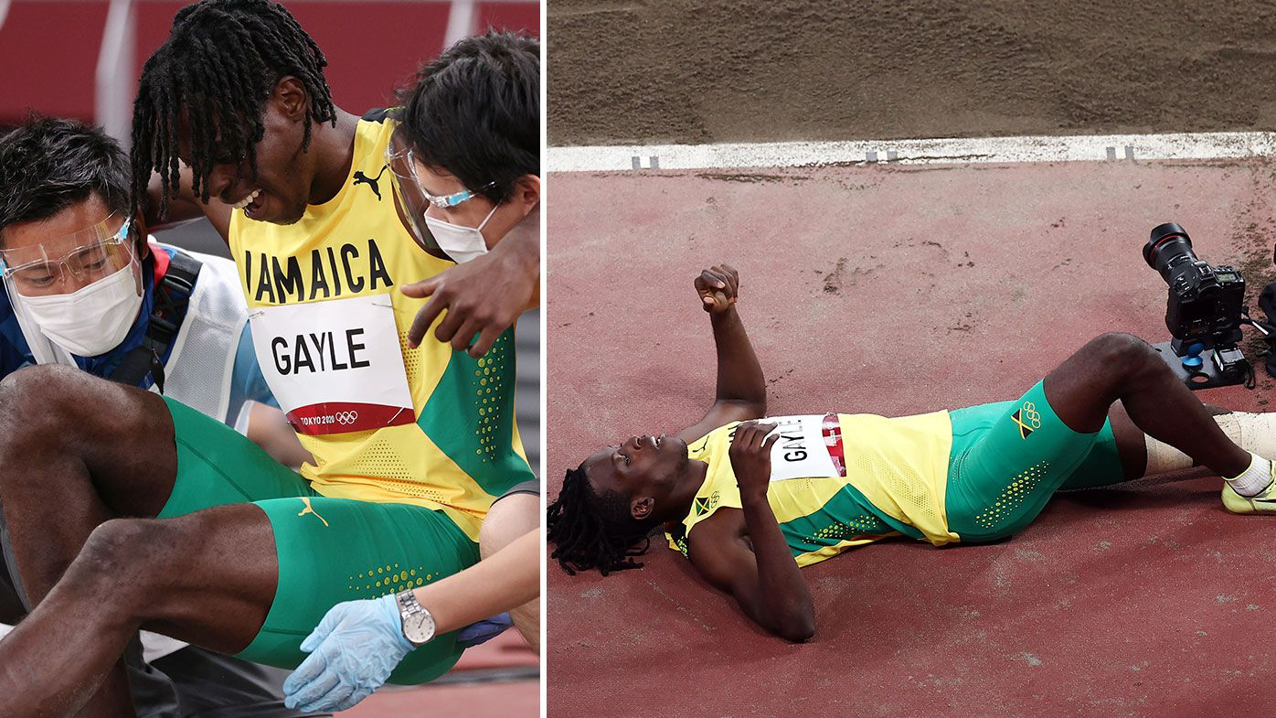 Drama as long jump champion collapses in pain