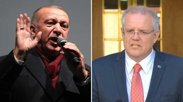 Turkish President Recep Erdogan and Australian PM Scott Morrison.
