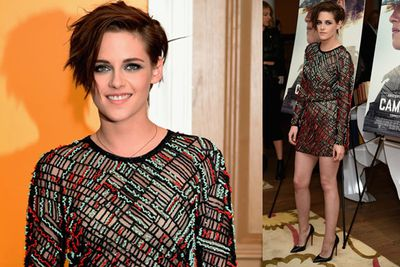Kristen Stewart showed off her racy side in this see-through number for her latest flick <i>Camp X Ray</i>.