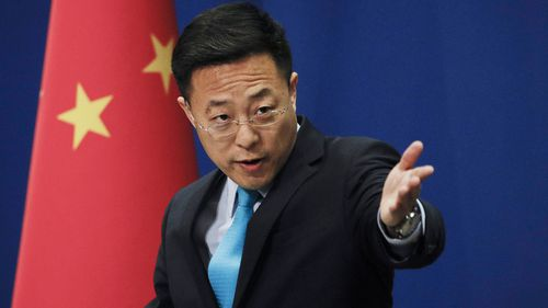 Chinese Foreign Ministry spokesman Zhao Lijian during a daily briefing at the Ministry of Foreign Affairs office in Beijing, on February 24.