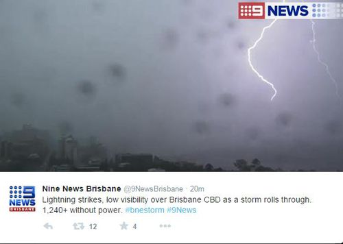 A twitter post showing lightning from the storms that hit Queensland's south-east. (supplied)
