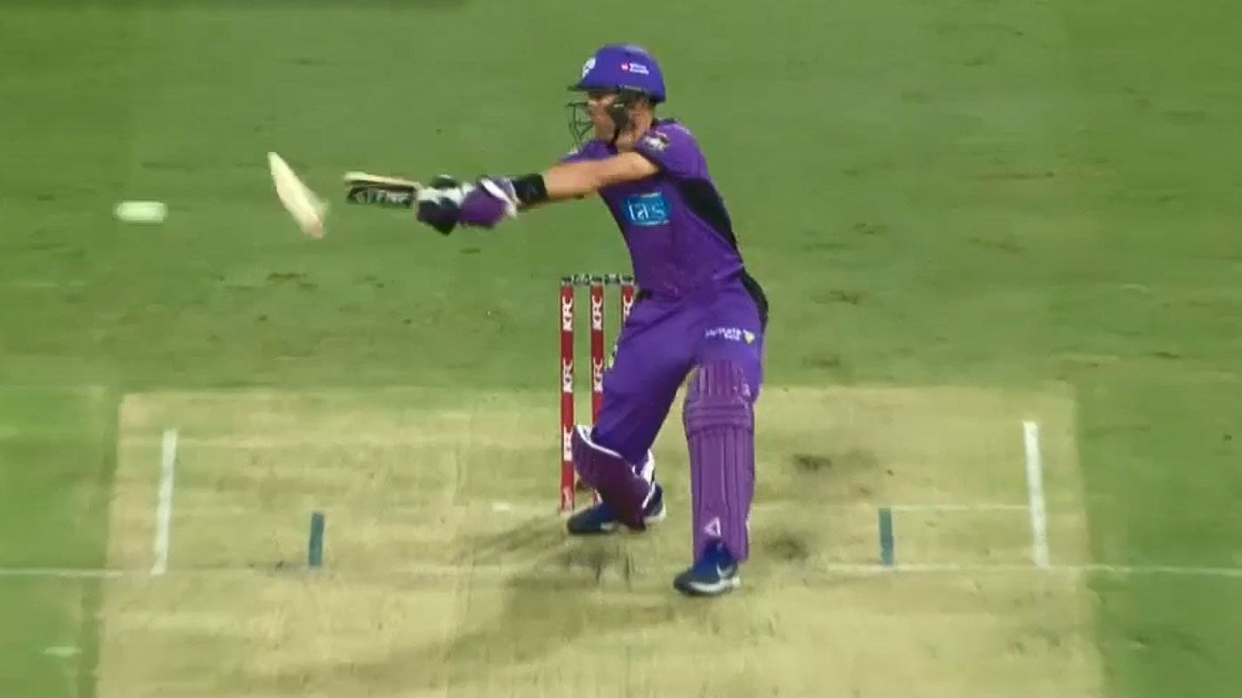 'Send that one back to the maker!': Hobart Hurricanes' Johan Botha shatters his bat unloading on Mark Steketee ball