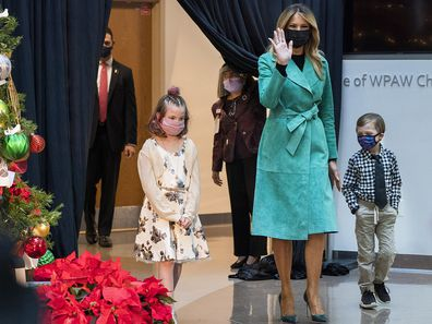 First lady Melania Trump arrives to read a Christmas story at Children's National Hospital, Tuesday, Dec. 15, 2020.