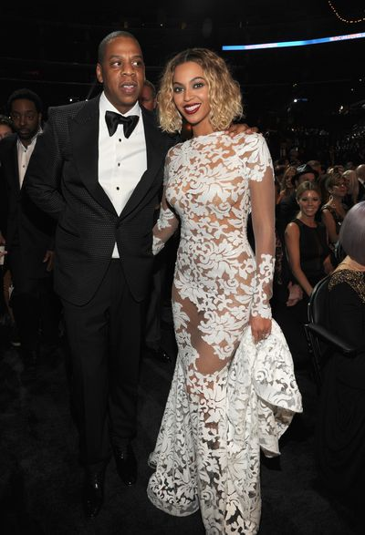 Beyonce in custom-made Michael Costello and Jay-Z at the 2014 Grammy Awards