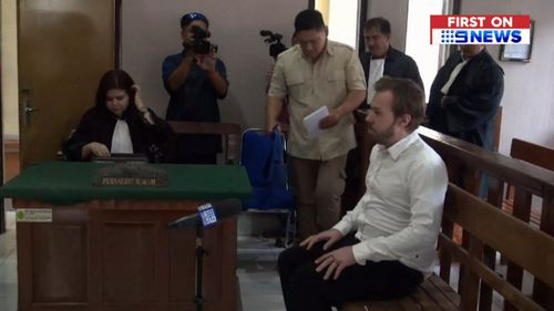 Joshua Baker was first arrested when Bali customs officers became suspicious of his luggage as it went through airport security. (9NEWS)