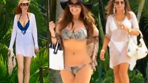 Wowsers! Real Housewives of Melbourne show off bikini bodies on Queensland holiday