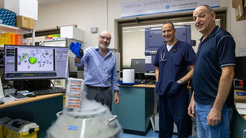 The Prince Charles Hospital research team alongside patient Tony Constantine.