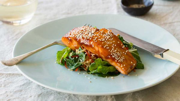 Honey and soy salmon with ginger, sesame and Asian greens recipe by Huon