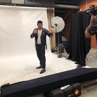 Scotty on set