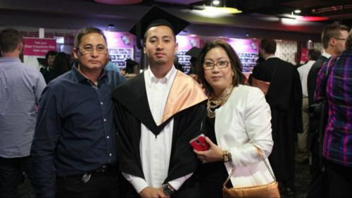 Raynor Manalad (centre) died after a one punch attack. (Image: Facebook)