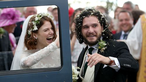 Game of Thrones co-stars Kit Harington and Rose Leslie married today with a church service and a celebration at the bride's ancestral castle in Scotland. Picture: PA