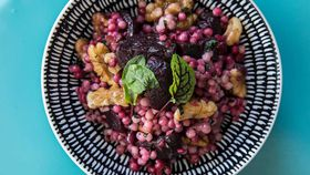 Blue Caboose's roasted beetroot and cous cous salad