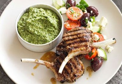 Tuesday: Lamb cutlets with spinach skordalia