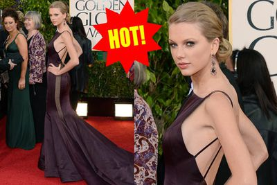 Wow! Taylor gets all creepy Spider-woman with this interesting flowing frock.