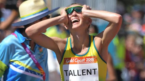 Tallent reacts after being disqualified. (AAP)