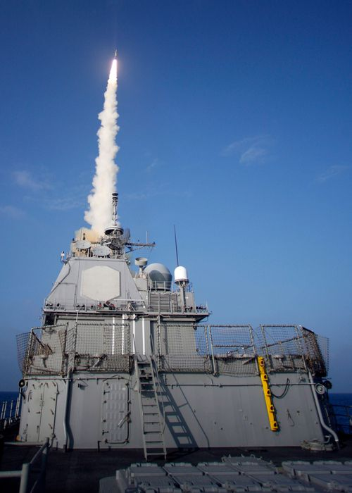The USS Lake Erie launches a Standard Missile-3 at a non-functioning National Reconnaissance Office satellite as it travelled in space over the Pacific Ocean in 2008.