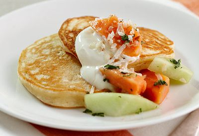 Coconut ricotta pikelets with tropical fruit salsa