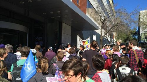 Activists protest against ban on Gayby Baby documentary outside Sydney newspaper office