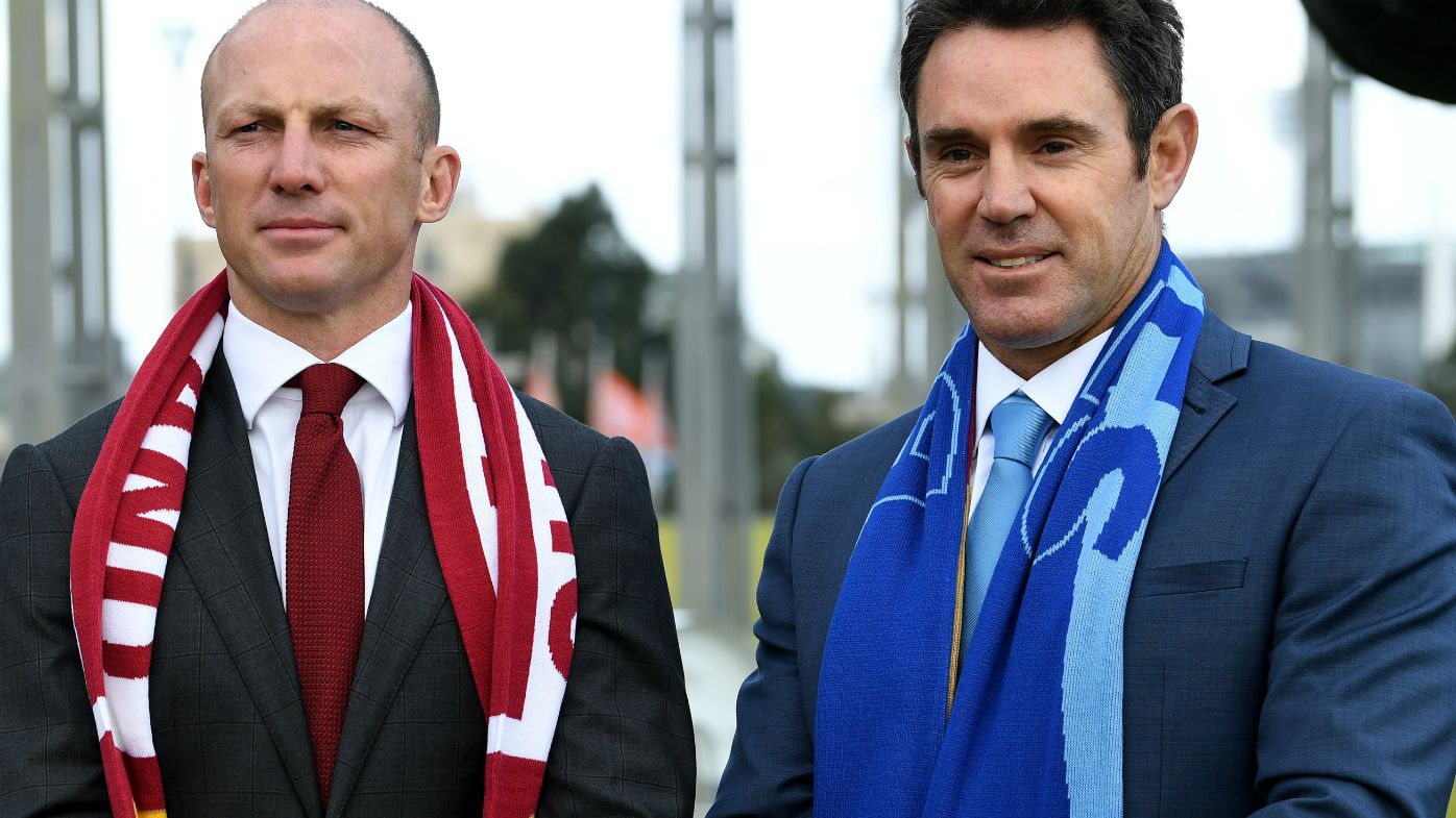State of Origin legends Darren Lockyer (left) (Queensland) and Brad Fittler (New South Wales) attend the launch of the Origin Series for next year in Melbourne, Wednesday, July 19, 2017.
