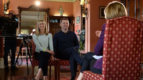Kate and Gerry McCann, whose daughter Madeleine disappeared in Portugal ten years ago, during an interview with the BBC's Fiona Bruce at Prestwold Hall on April 28, 2017