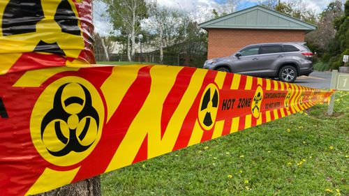 The care home in Albury has been taped off and some residents have been evacuated as investigations continue into the WWII explosive found in a room.
