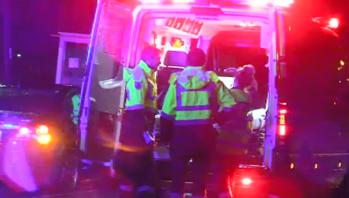 Multiple vehicles were damaged in the crash that sent five people to hospital. (9NEWS)