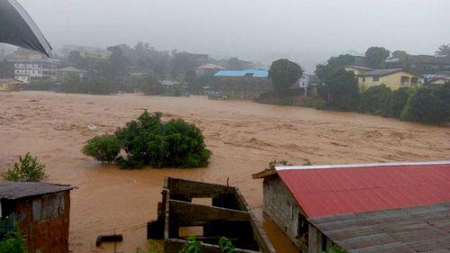 A photograph purportedly shows a mudslide near Freetown, Sierra Leone. (AAP)