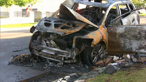 The vehicle after the fire had been extinguished.