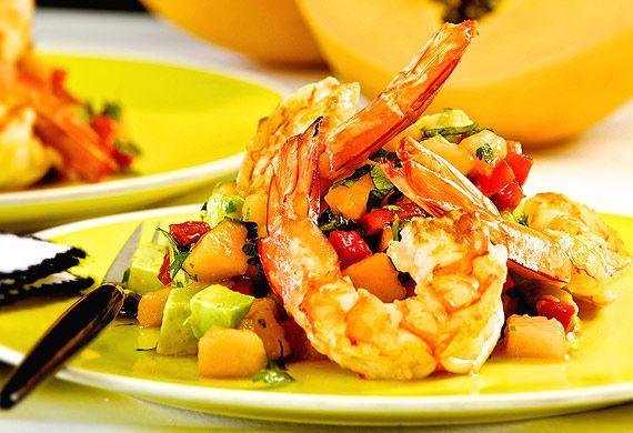 Prawn, avocado and papaw salad