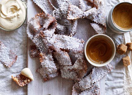Fried pastries with espresso mascarpone
