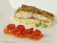 Seared snapper with crab and pea risotto