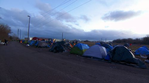 9News visited the Calais camp where temperatures drop to five degrees in the morning and even colder when the wind picks up.