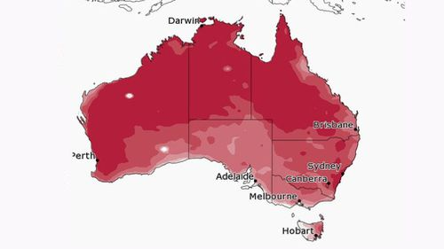 The chance of above median maximum temperature for September to November.