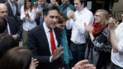 Ed Miliband arriving at the Labour Party headquarters in Westminster, London. (AAP)
