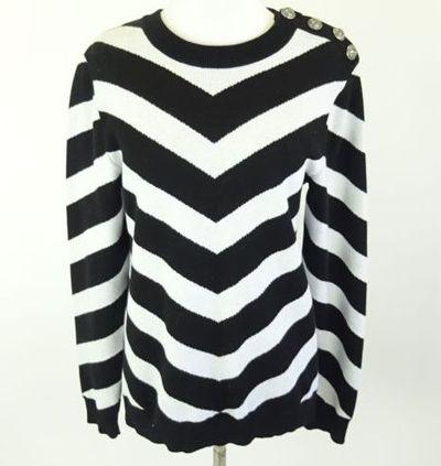 """Kim Kardashian West <a href=""""https://www.ebay.com/rpp/kardashian/kim"""" target=""""_blank"""">BALMAIN Black/White Striped CottonSweater</a> Size M, $240.10"""