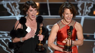 <b>Best Short Subject Documentary:</b><br><br>Dana Perry and Ellen Goosenberg Kent accept the Oscar for 'Crisis Hotline: Veterans Press 1'. (AAP)