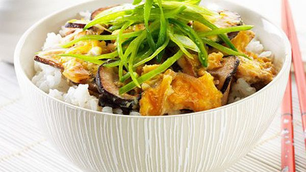 Chicken, egg and mushroom donburi