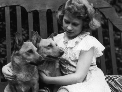 Princess Elizabeth and her corgis pictured in 1936