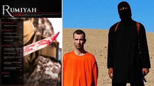 The second issue of the Islamic State's new propaganda magazine Rumiyah; An IS militant stands next to British aid worker David Cawthorne Haines, who was beheaded.