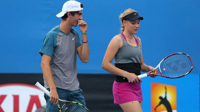 Vekic and Kokkinakis played mixed doubles against Julia Goerges of Germany and Aisam-Ul-Haq Qureshi of Pakistan at the 2014 Australian Open. (AAP)
