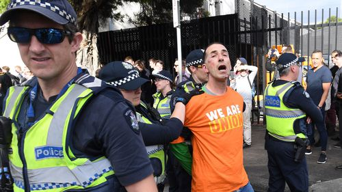 Several arrests were made after the ugle scenes in Melbourne. (AAP)