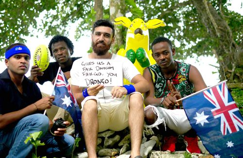 Shamindan Kanapathi (left), who has spent five-and-a-half years on Manus and Abdul Aziz Muhamat (second from left), Amin Abofotila (second from right) and  Omar Mohommed Jack, who have all spent six years on Manus.