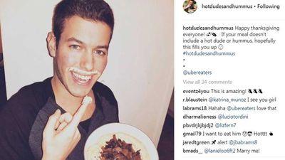 Hot boy with hummus platter